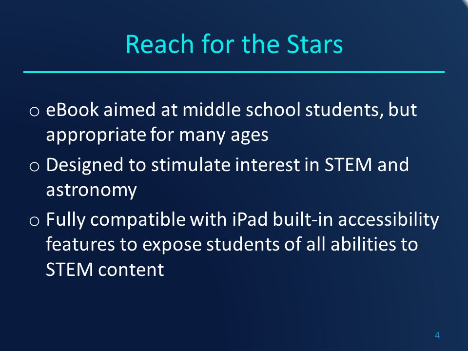 Reach for the Stars Reach for the Stars is the result of the collaboration between: a science curriculum specialist and a blind software engineer and accessibility specialist an astronomer Elena Sabbi Ada Lopez Ed Summers 5