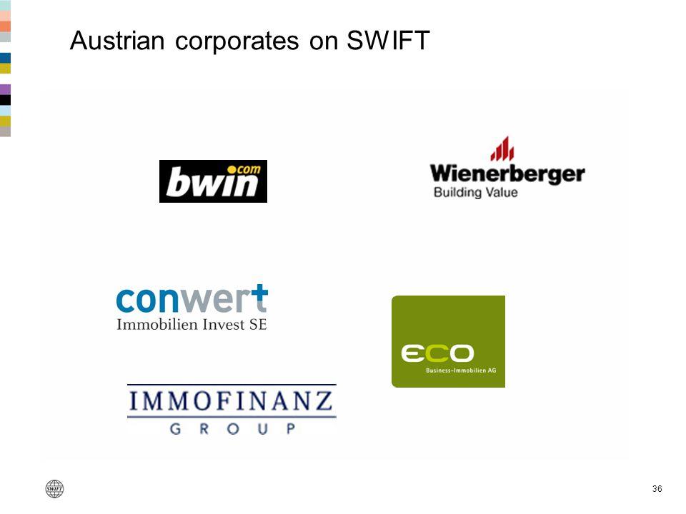 36 Austrian corporates on SWIFT