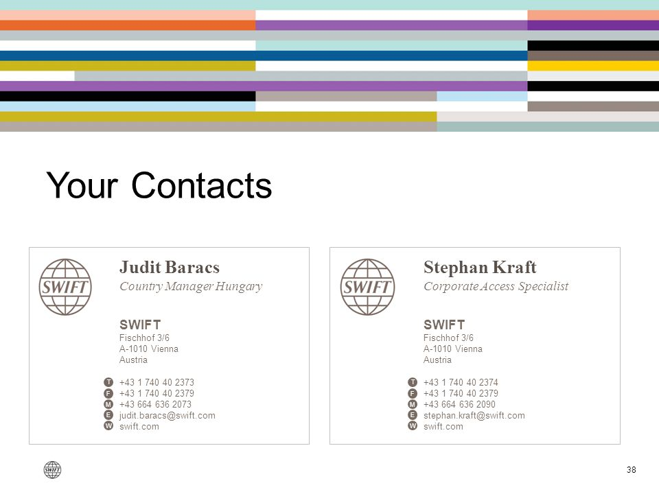 38 Your Contacts Judit Baracs Country Manager Hungary SWIFT Fischhof 3/6 A-1010 Vienna Austria +43 1 740 40 2373 +43 1 740 40 2379 +43 664 636 2073 ju