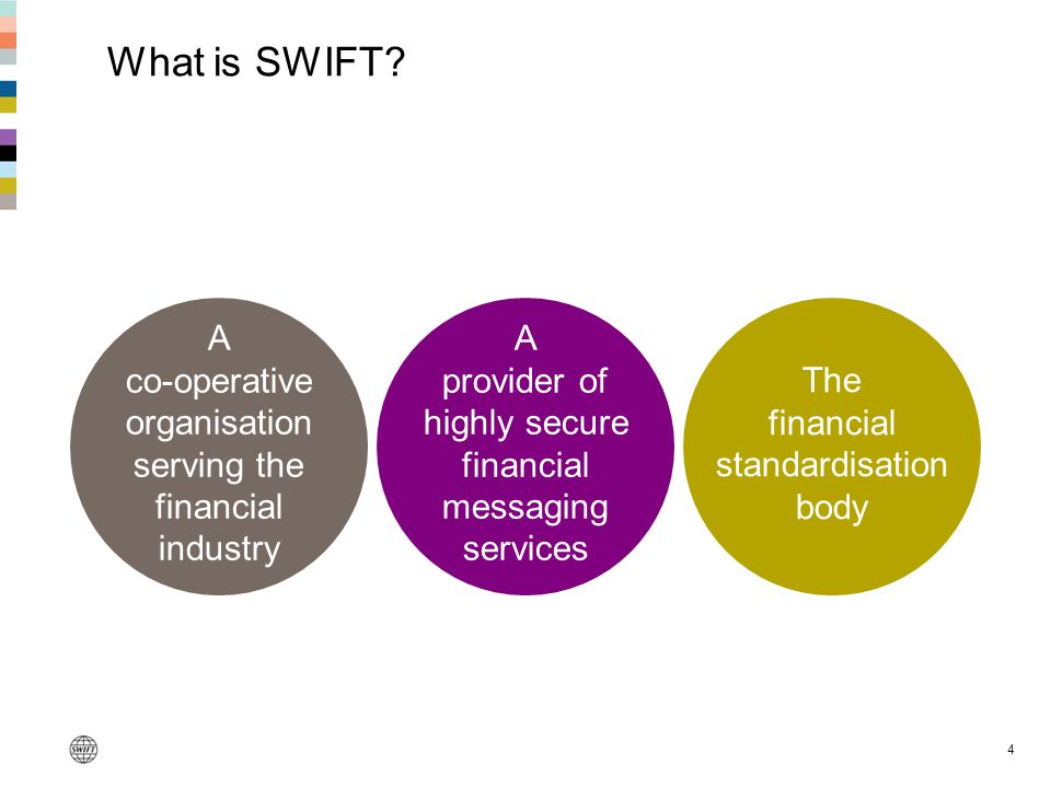 4 What is SWIFT? A co-operative organisation serving the financial industry A provider of highly secure financial messaging services The financial sta