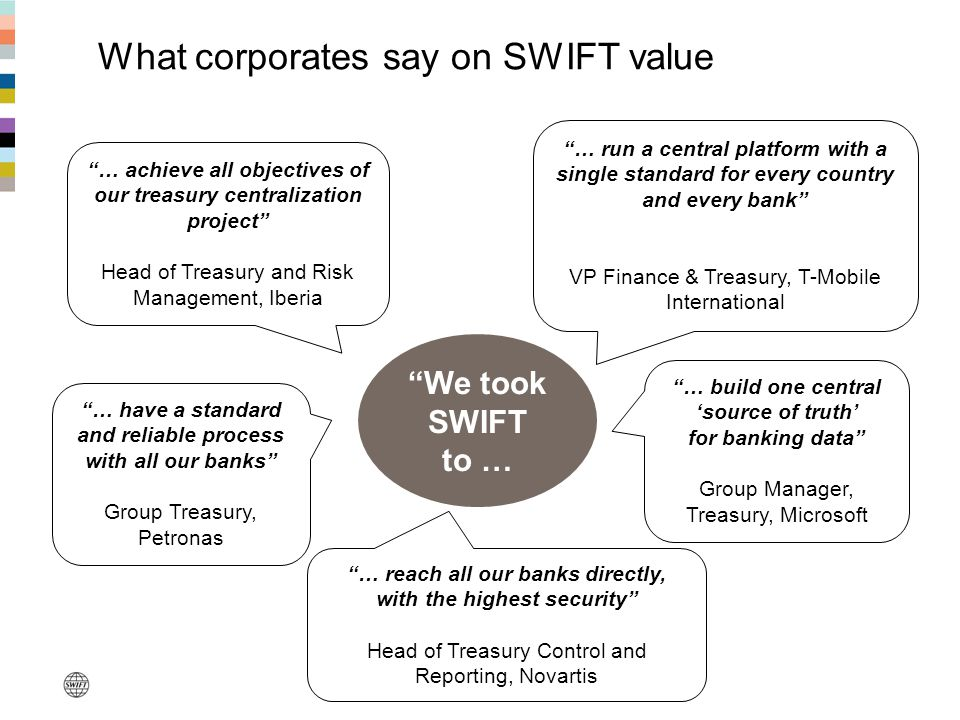 """What corporates say on SWIFT value """"… reach all our banks directly, with the highest security"""" Head of Treasury Control and Reporting, Novartis """"… ach"""
