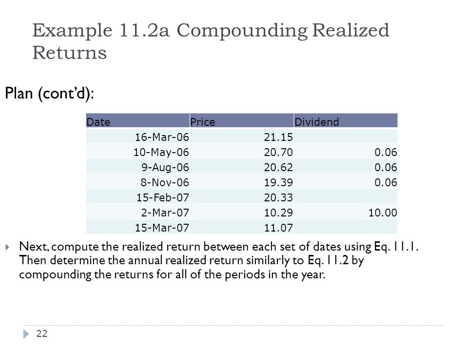 Example 11.2a Compounding Realized Returns Plan (cont'd):  Next, compute the realized return between each set of dates using Eq. 11.1. Then determine