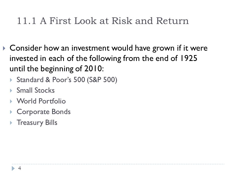 11.1 A First Look at Risk and Return  Consider how an investment would have grown if it were invested in each of the following from the end of 1925 u