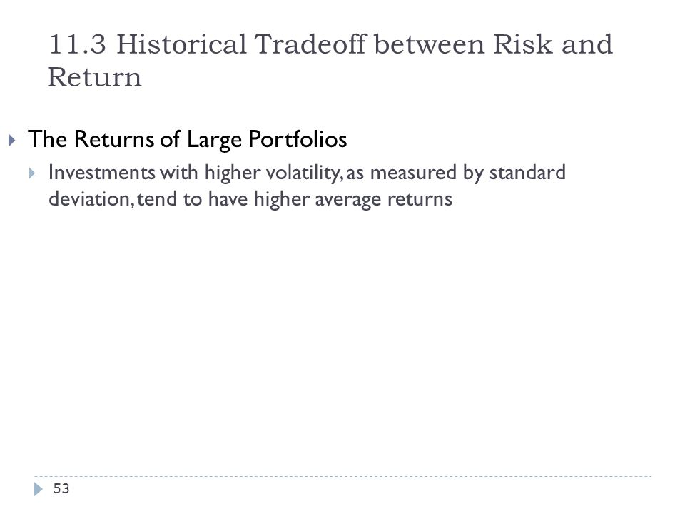 11.3 Historical Tradeoff between Risk and Return  The Returns of Large Portfolios  Investments with higher volatility, as measured by standard devia