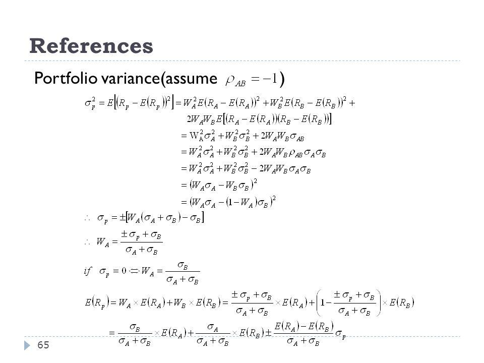 65 Portfolio variance(assume )