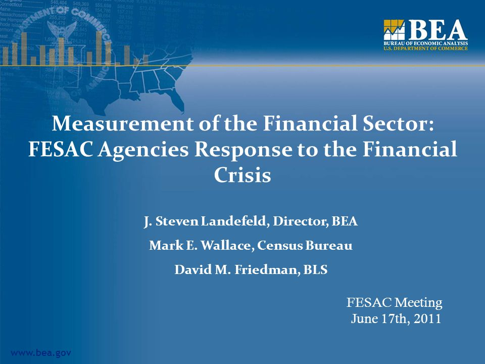 www.bea.gov Measurement of the Financial Sector: FESAC Agencies Response to the Financial Crisis J.