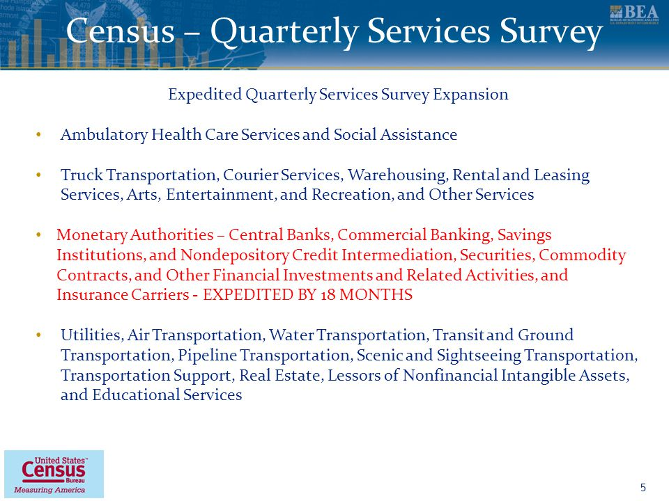 www.bea.gov Census – Quarterly Services Survey 5 Expedited Quarterly Services Survey Expansion Ambulatory Health Care Services and Social Assistance Truck Transportation, Courier Services, Warehousing, Rental and Leasing Services, Arts, Entertainment, and Recreation, and Other Services Monetary Authorities – Central Banks, Commercial Banking, Savings Institutions, and Nondepository Credit Intermediation, Securities, Commodity Contracts, and Other Financial Investments and Related Activities, and Insurance Carriers - EXPEDITED BY 18 MONTHS Utilities, Air Transportation, Water Transportation, Transit and Ground Transportation, Pipeline Transportation, Scenic and Sightseeing Transportation, Transportation Support, Real Estate, Lessors of Nonfinancial Intangible Assets, and Educational Services