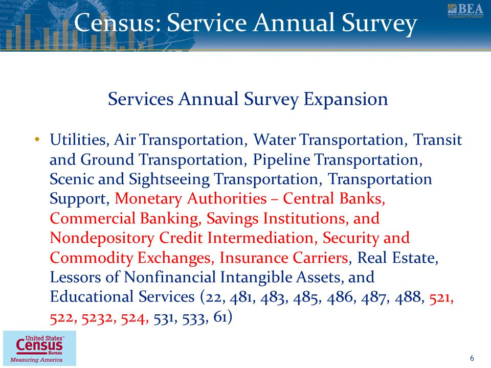 www.bea.gov Census: Service Annual Survey 6 Services Annual Survey Expansion Utilities, Air Transportation, Water Transportation, Transit and Ground Transportation, Pipeline Transportation, Scenic and Sightseeing Transportation, Transportation Support, Monetary Authorities – Central Banks, Commercial Banking, Savings Institutions, and Nondepository Credit Intermediation, Security and Commodity Exchanges, Insurance Carriers, Real Estate, Lessors of Nonfinancial Intangible Assets, and Educational Services (22, 481, 483, 485, 486, 487, 488, 521, 522, 5232, 524, 531, 533, 61)