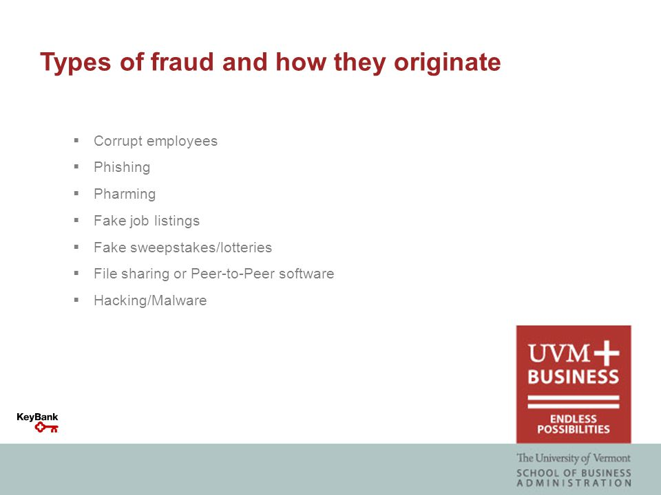 Types of fraud and how they originate  Corrupt employees  Phishing  Pharming  Fake job listings  Fake sweepstakes/lotteries  File sharing or Peer-to-Peer software  Hacking/Malware