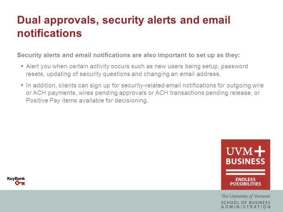 Dual approvals, security alerts and email notifications Security alerts and email notifications are also important to set up as they:  Alert you when certain activity occurs such as new users being setup, password resets, updating of security questions and changing an email address.