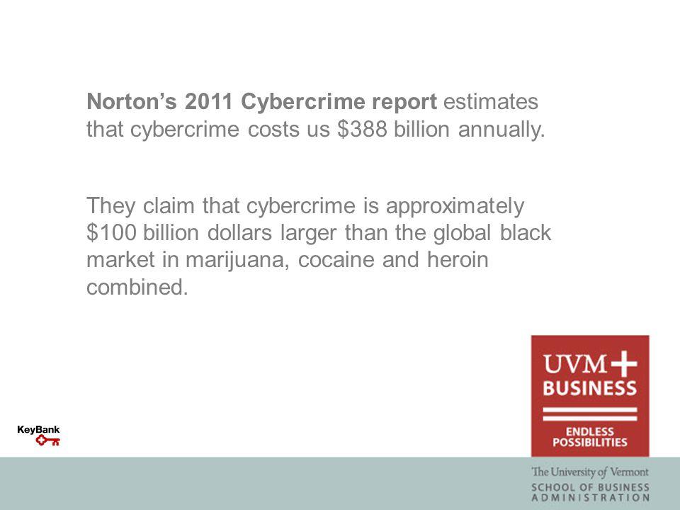 Norton's 2011 Cybercrime report estimates that cybercrime costs us $388 billion annually.