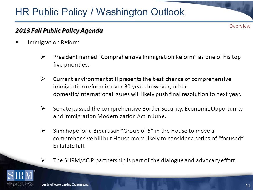 HR Public Policy / Washington Outlook Leading People.