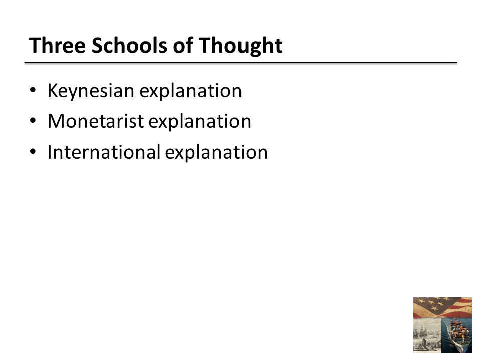 Three Schools of Thought Keynesian explanation Monetarist explanation International explanation