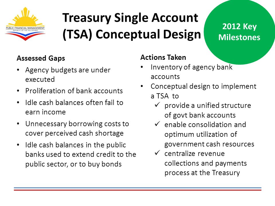 Treasury Single Account (TSA) Conceptual Design Assessed Gaps Agency budgets are under executed Proliferation of bank accounts Idle cash balances often fail to earn income Unnecessary borrowing costs to cover perceived cash shortage Idle cash balances in the public banks used to extend credit to the public sector, or to buy bonds 2012 Key Milestones Actions Taken Inventory of agency bank accounts Conceptual design to implement a TSA to provide a unified structure of govt bank accounts enable consolidation and optimum utilization of government cash resources centralize revenue collections and payments process at the Treasury