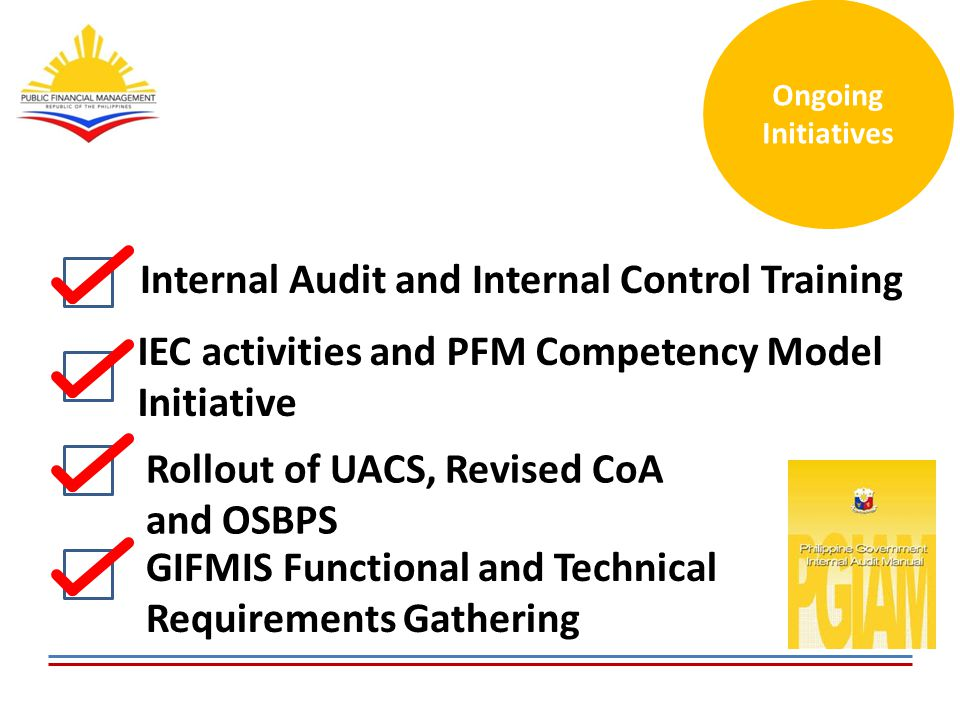 Internal Audit and Internal Control Training IEC activities and PFM Competency Model Initiative Rollout of UACS, Revised CoA and OSBPS GIFMIS Functional and Technical Requirements Gathering Ongoing Initiatives