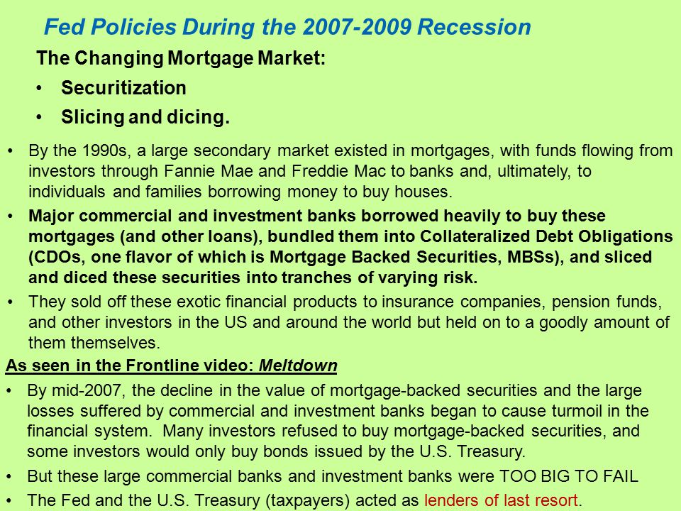 Fed Policies During the 2007-2009 Recession The Changing Mortgage Market: Securitization Slicing and dicing.
