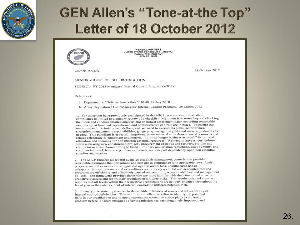 "GEN Allen's ""Tone-at-the Top"" Letter of 18 October 2012 27 26."
