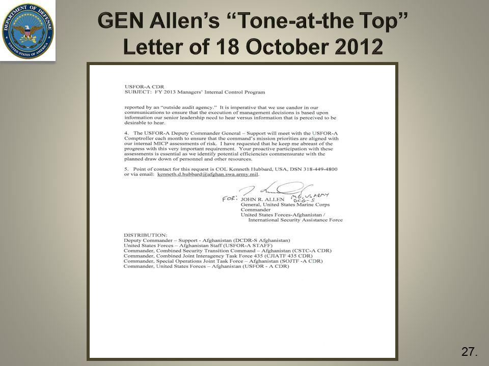 "GEN Allen's ""Tone-at-the Top"" Letter of 18 October 2012 27."