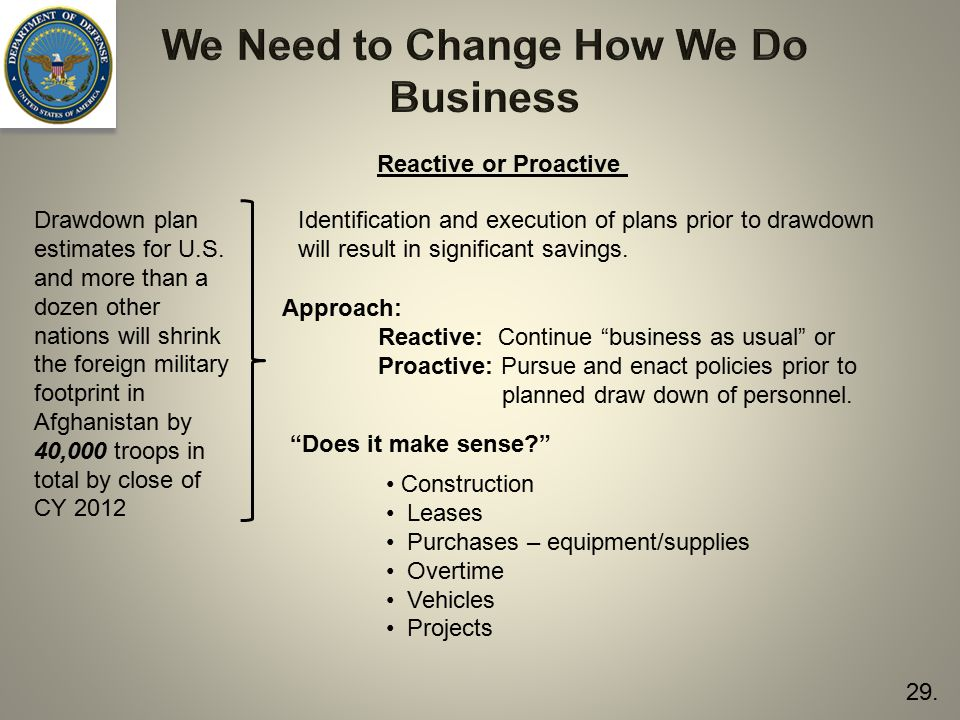 We Need to Change How We Do Business Drawdown plan estimates for U.S.