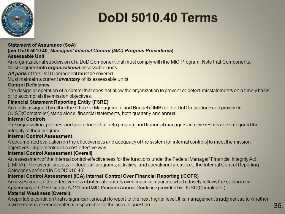 37 36. Statement of Assurance (SoA) (per DoDI 5010.40, Managers' Internal Control (MIC) Program Procedures) Assessable Unit An organizational subdivis