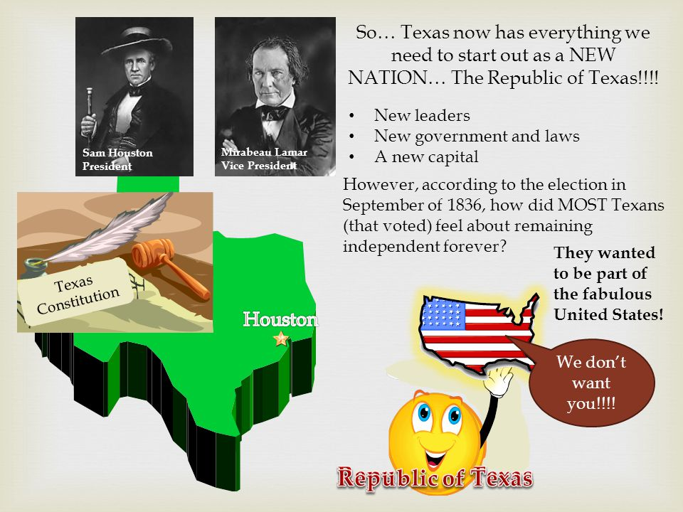 So… Texas now has everything we need to start out as a NEW NATION… The Republic of Texas!!!.
