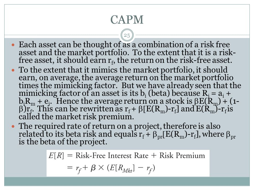 25 Each asset can be thought of as a combination of a risk free asset and the market portfolio. To the extent that it is a risk- free asset, it should
