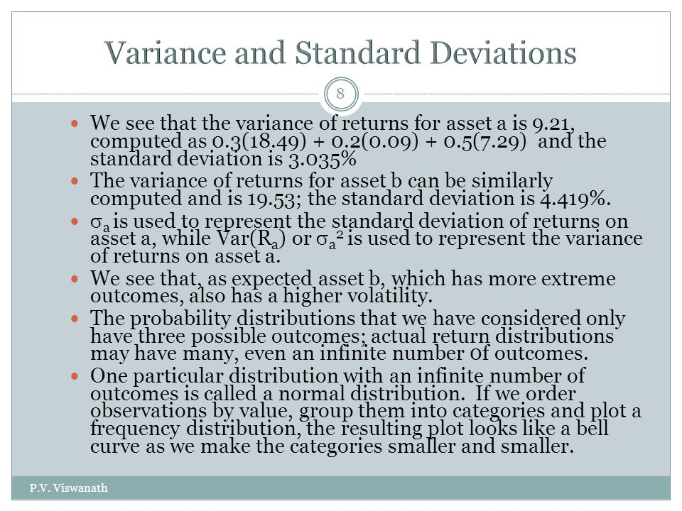 P.V. Viswanath 8 We see that the variance of returns for asset a is 9.21, computed as 0.3(18.49) + 0.2(0.09) + 0.5(7.29) and the standard deviation is