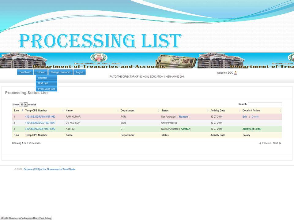 Processing List