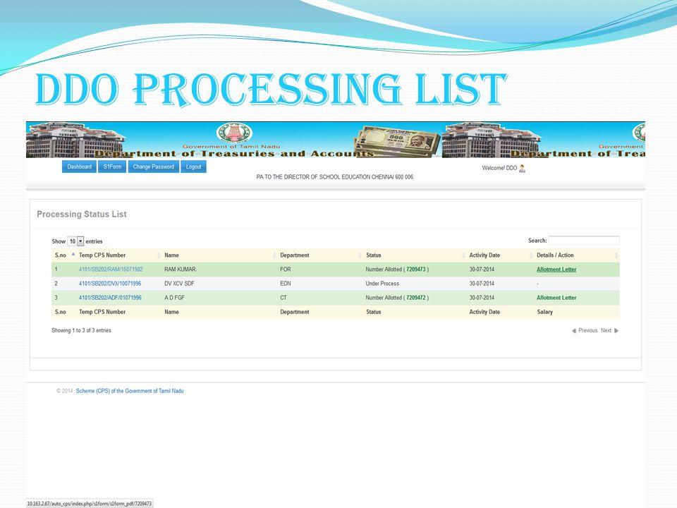 DDO Processing List