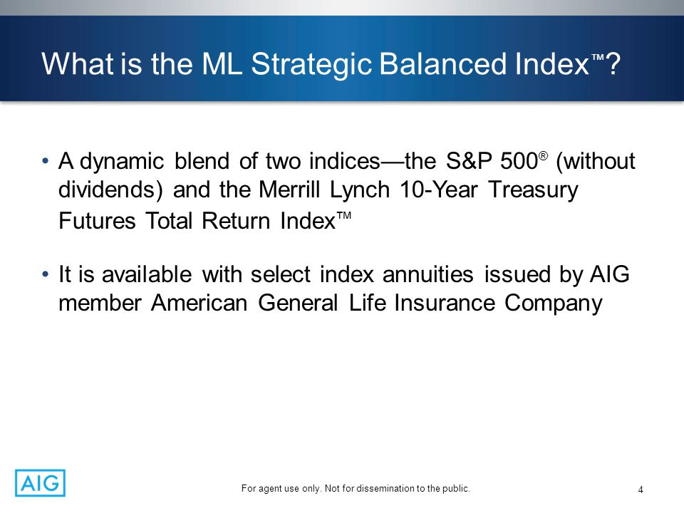 What is the ML Strategic Balanced Index ™ ? A dynamic blend of two indices—the S&P 500 ® (without dividends) and the Merrill Lynch 10-Year Treasury Fu