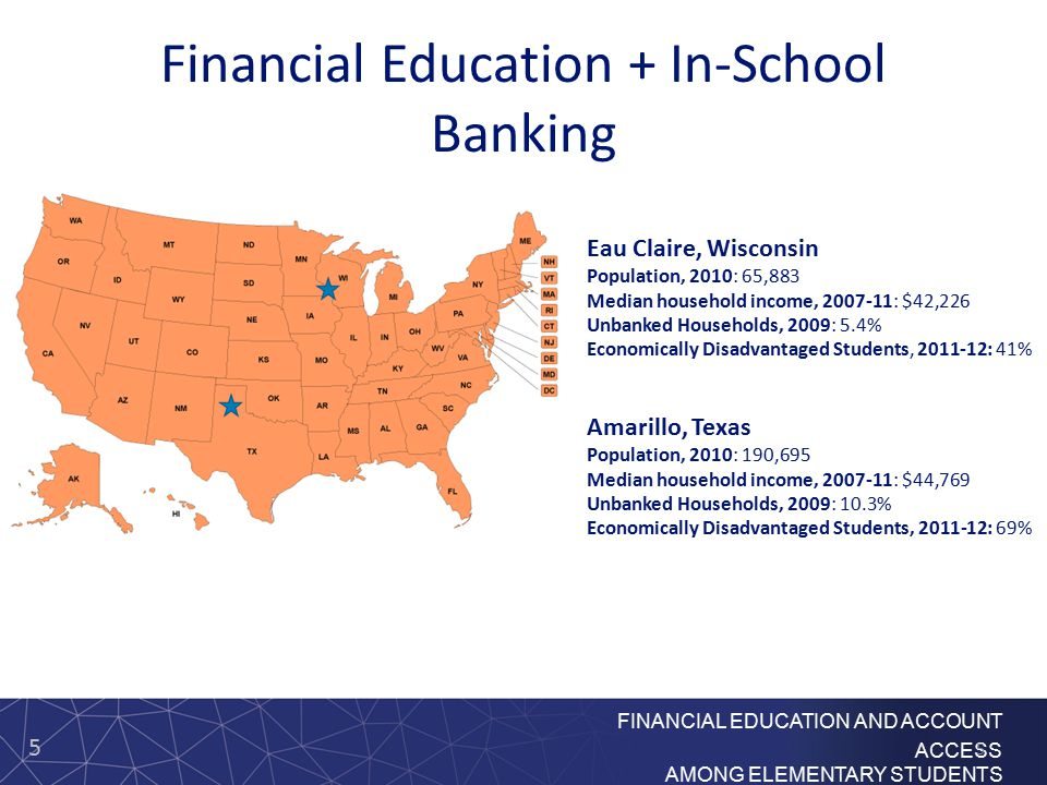5 FINANCIAL EDUCATION AND ACCOUNT ACCESS AMONG ELEMENTARY STUDENTS Financial Education + In-School Banking Eau Claire, Wisconsin Population, 2010: 65,