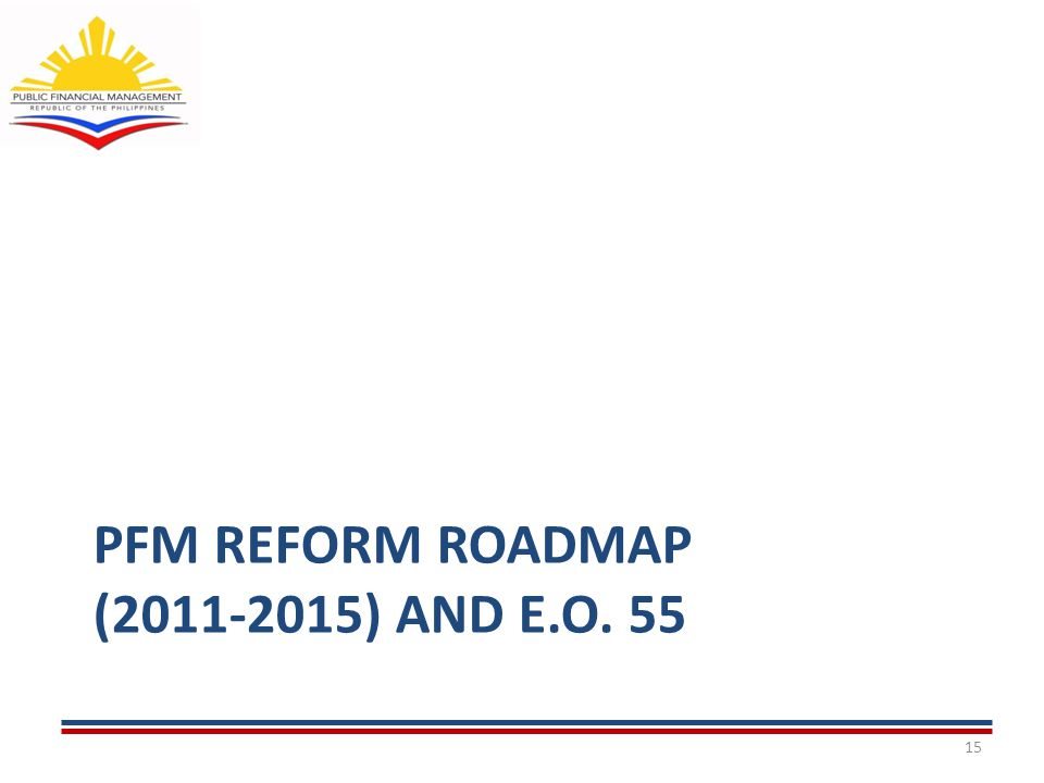 PFM REFORM ROADMAP (2011-2015) AND E.O. 55 15