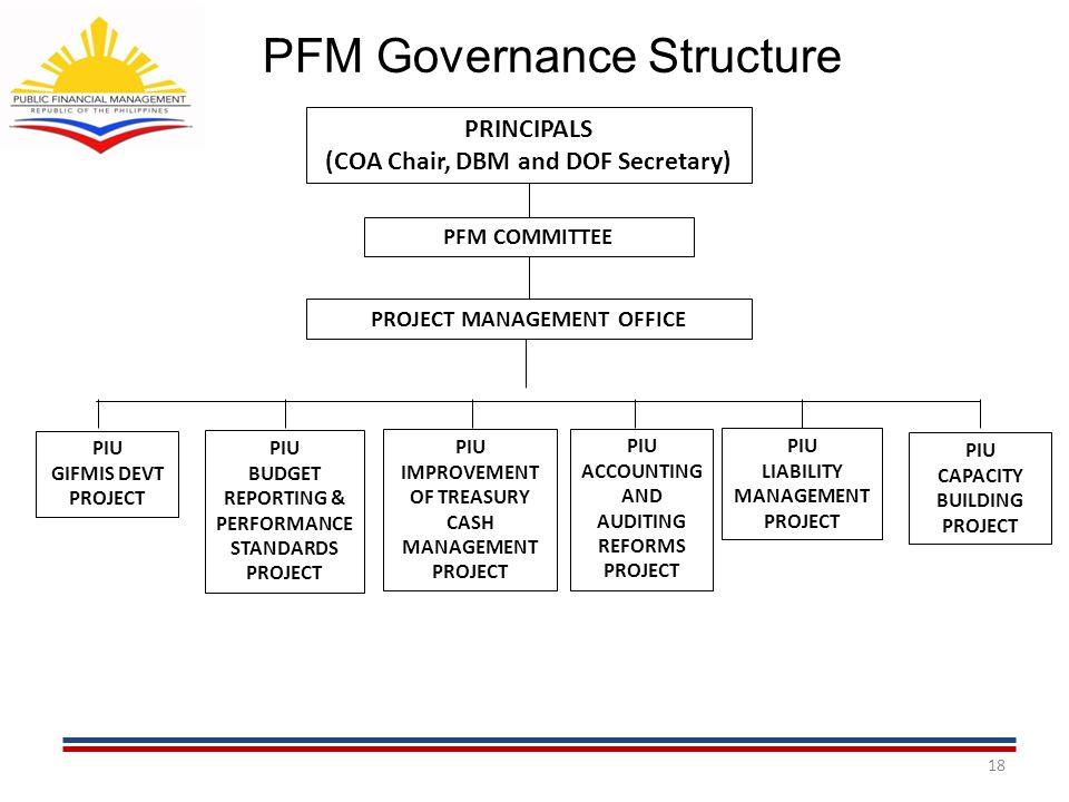 PFM Governance Structure 18 PRINCIPALS (COA Chair, DBM and DOF Secretary) PFM COMMITTEE PROJECT MANAGEMENT OFFICE PIU GIFMIS DEVT PROJECT PIU BUDGET R