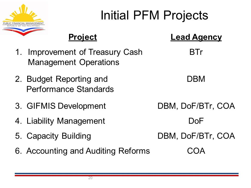 Initial PFM Projects 20 ProjectLead Agency 1.Improvement of Treasury Cash Management Operations BTr 2.
