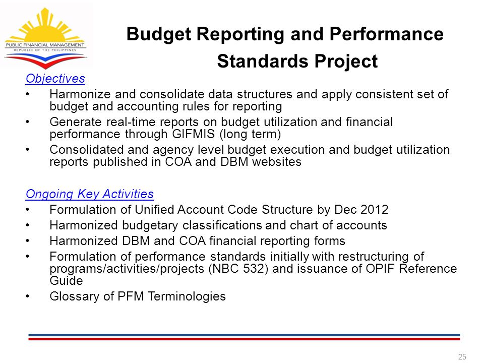 Budget Reporting and Performance Standards Project Objectives Harmonize and consolidate data structures and apply consistent set of budget and account