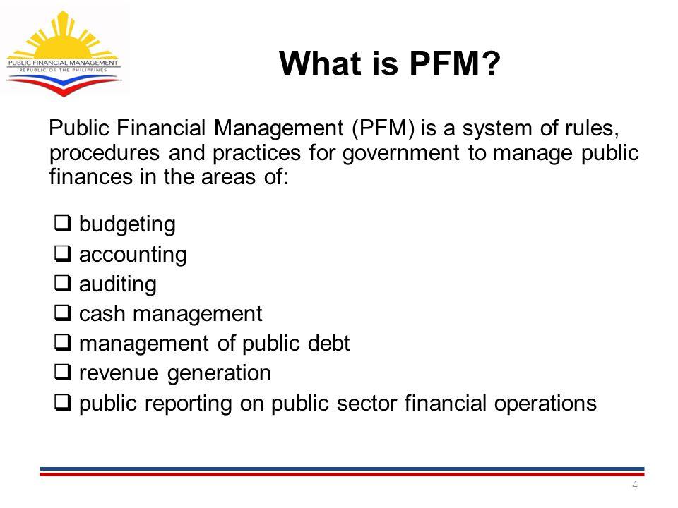 PFM REFORM ROADMAP (2011-2015) AND E.O. 55 15