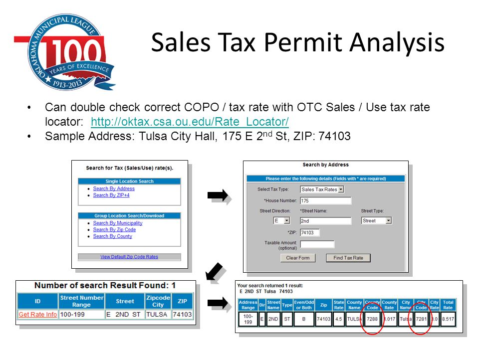 Sales Tax Permit Analysis Can double check correct COPO / tax rate with OTC Sales / Use tax rate locator: http://oktax.csa.ou.edu/Rate_Locator/http://