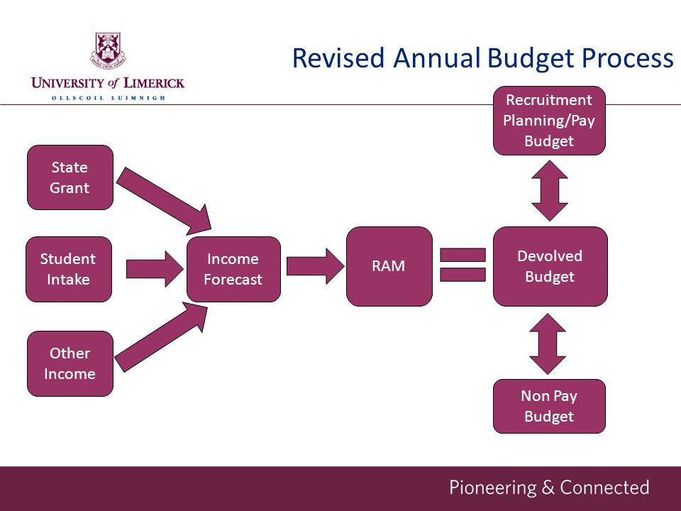 RAM Devolved Budget Non Pay Budget Income Forecast Recruitment Planning/Pay Budget Student Intake Other Income State Grant Revised Annual Budget Process