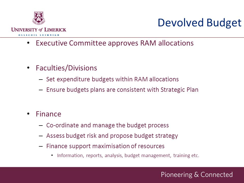 Devolved Budget Executive Committee approves RAM allocations Faculties/Divisions – Set expenditure budgets within RAM allocations – Ensure budgets pla