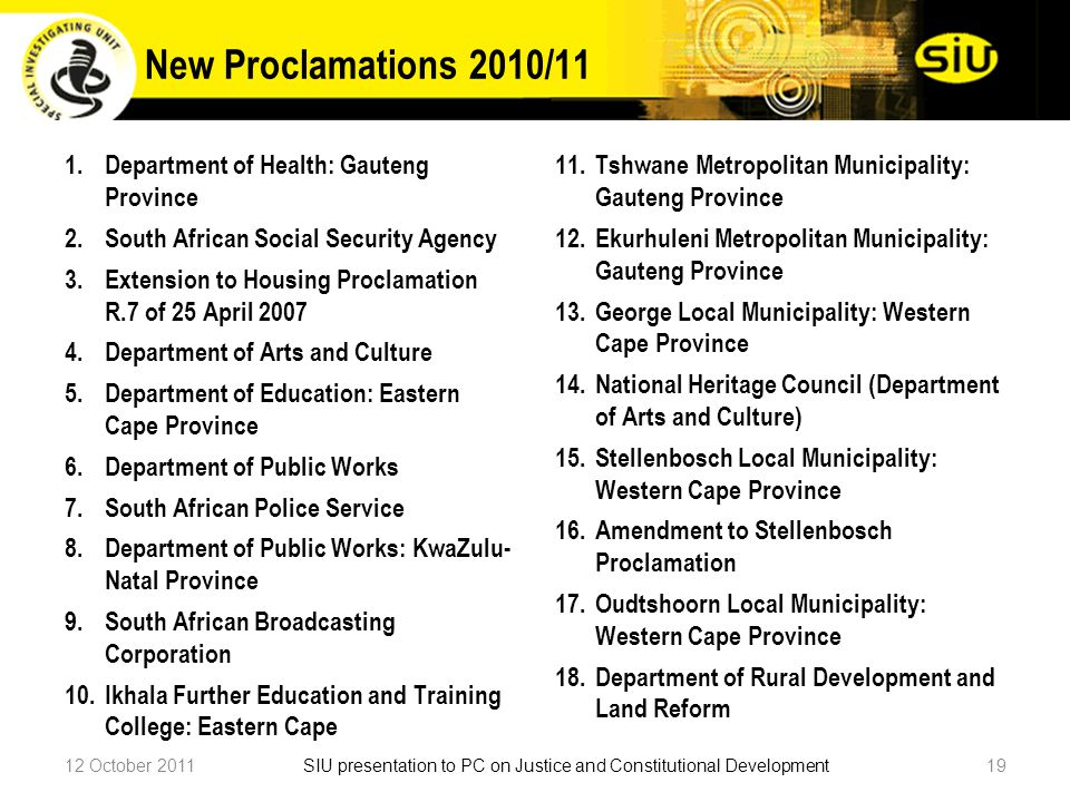 New Proclamations 2010/11 12 October 201119SIU presentation to PC on Justice and Constitutional Development 1.Department of Health: Gauteng Province 2.South African Social Security Agency 3.Extension to Housing Proclamation R.7 of 25 April 2007 4.Department of Arts and Culture 5.Department of Education: Eastern Cape Province 6.Department of Public Works 7.South African Police Service 8.Department of Public Works: KwaZulu- Natal Province 9.South African Broadcasting Corporation 10.Ikhala Further Education and Training College: Eastern Cape 11.Tshwane Metropolitan Municipality: Gauteng Province 12.Ekurhuleni Metropolitan Municipality: Gauteng Province 13.George Local Municipality: Western Cape Province 14.National Heritage Council (Department of Arts and Culture) 15.Stellenbosch Local Municipality: Western Cape Province 16.Amendment to Stellenbosch Proclamation 17.Oudtshoorn Local Municipality: Western Cape Province 18.