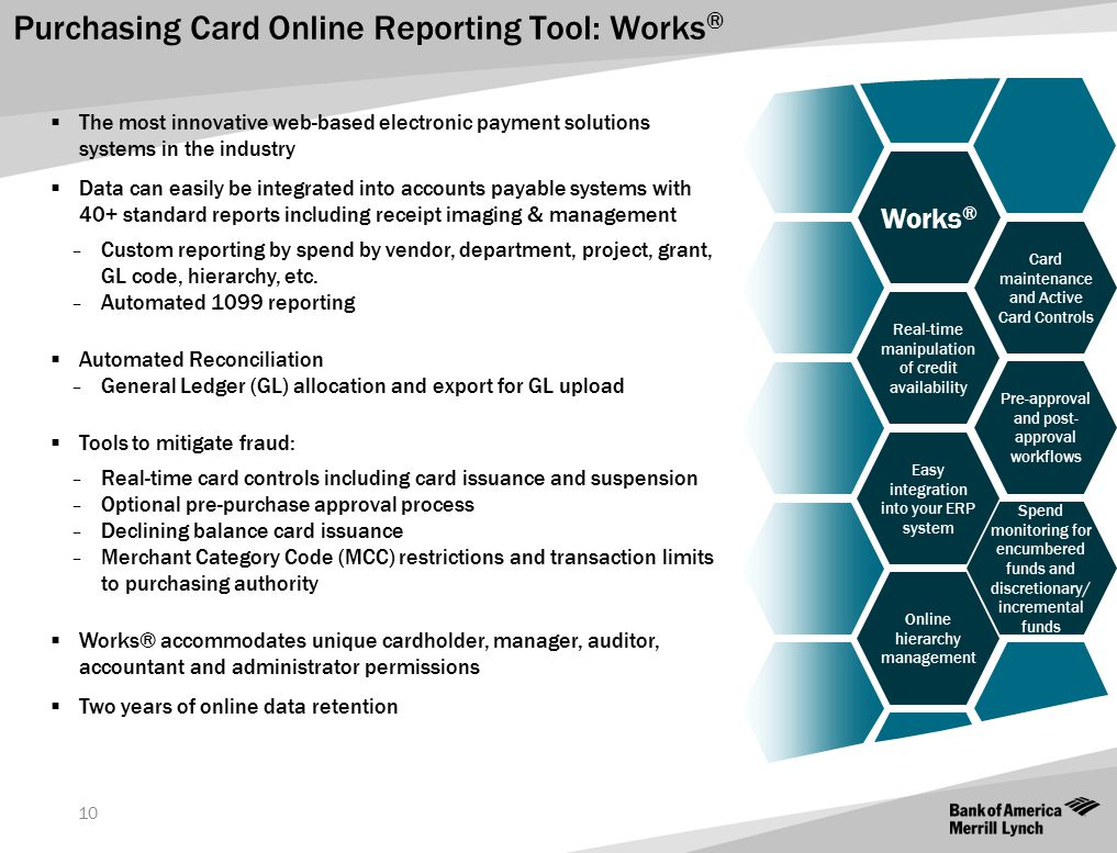 Purchasing Card Online Reporting Tool: Works ® 10  The most innovative web-based electronic payment solutions systems in the industry  Data can easi