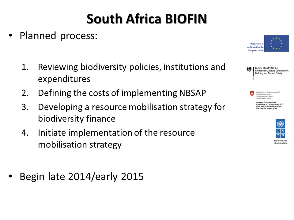 South Africa BIOFIN Planned process: 1.Reviewing biodiversity policies, institutions and expenditures 2.Defining the costs of implementing NBSAP 3.Developing a resource mobilisation strategy for biodiversity finance 4.Initiate implementation of the resource mobilisation strategy Begin late 2014/early 2015