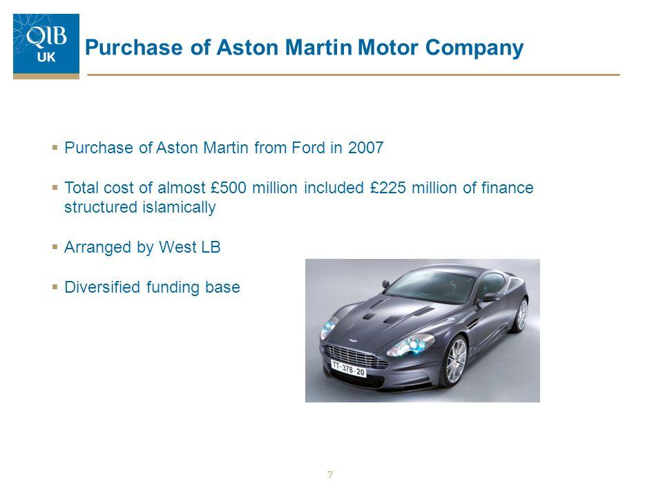 Purchase of Aston Martin Motor Company  Purchase of Aston Martin from Ford in 2007  Total cost of almost £500 million included £225 million of finan