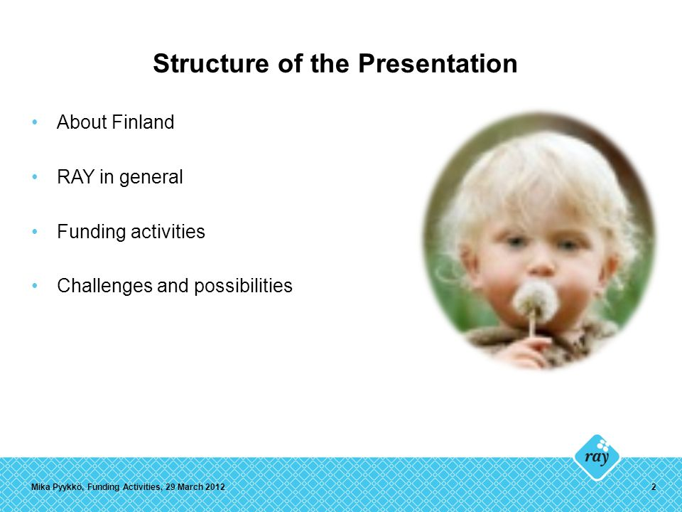 Structure of the Presentation About Finland RAY in general Funding activities Challenges and possibilities Mika Pyykkö, Funding Activities, 29 March 20122