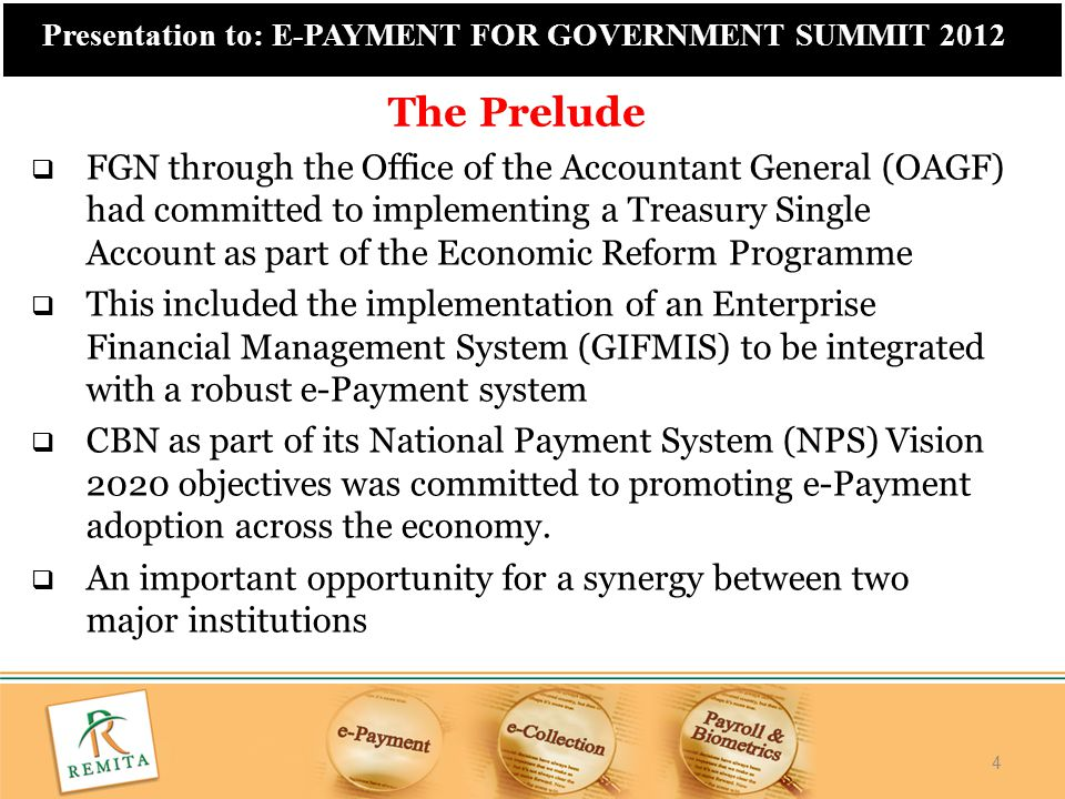 25 Presentation to: E-PAYMENT FOR GOVERNMENT SUMMIT 2012 25 With Remita Payroll, within minutes You can:  Compute all staff allowances, loans, pensions, taxes and other deductions.