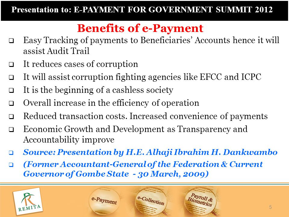 26 Presentation to: E-PAYMENT FOR GOVERNMENT SUMMIT 2012  Government is committed to the transformation of the financial landscape through a multi-pronged approach of e- payment implementation across all sectors  Government has started out with herself at the Federal level to demonstrate commitment to the initiative and serve as an example to others  Phased approach starting with over 100 MDAS.