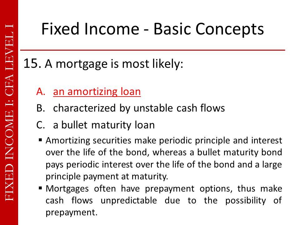 FIXED INCOME I: CFA LEVEL I Fixed Income - Basic Concepts 15.