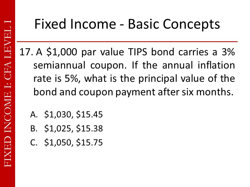 FIXED INCOME I: CFA LEVEL I Fixed Income - Basic Concepts 17.