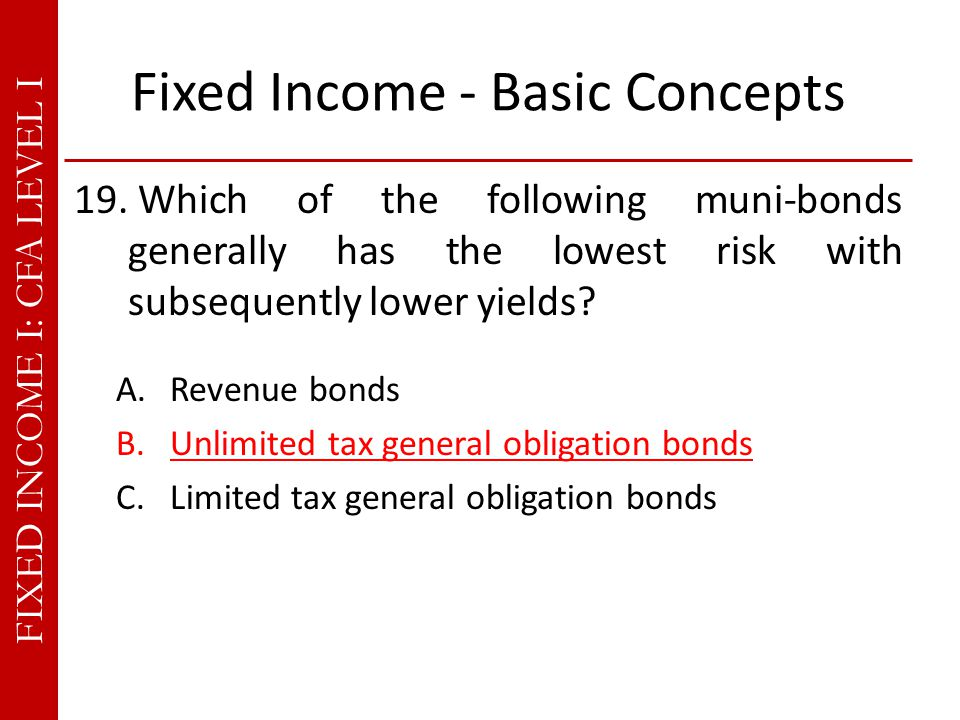 FIXED INCOME I: CFA LEVEL I Fixed Income - Basic Concepts 19.