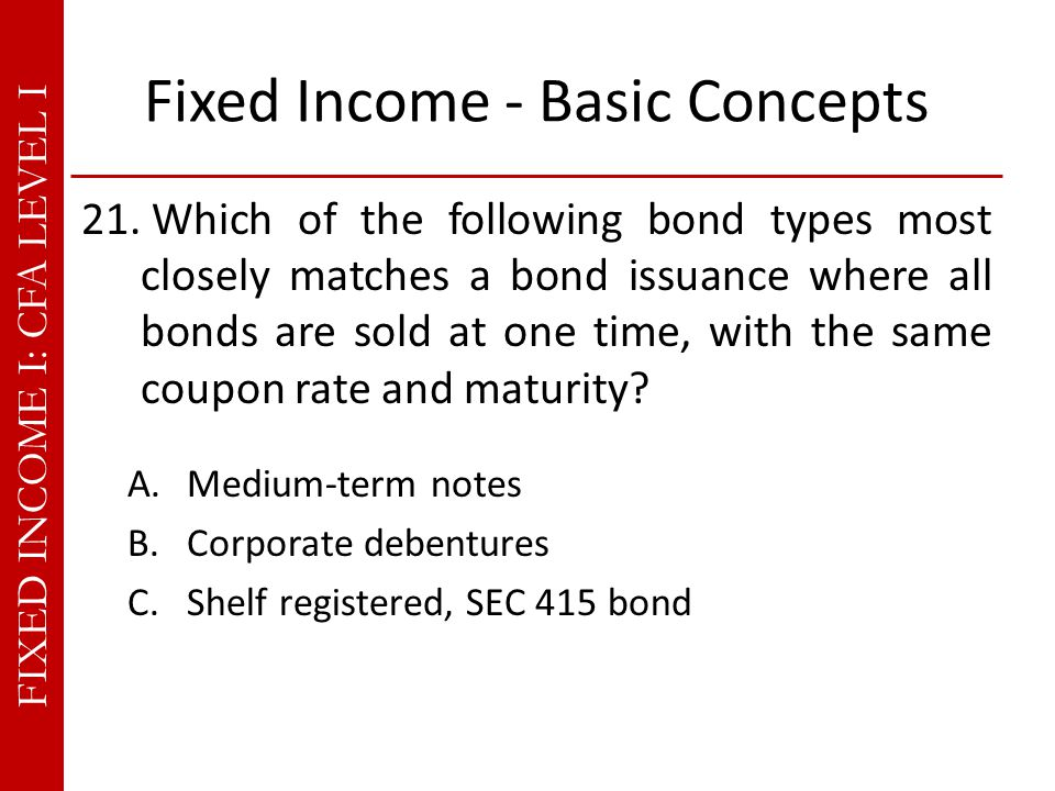 FIXED INCOME I: CFA LEVEL I Fixed Income - Basic Concepts 21.